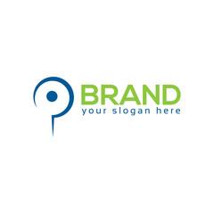 Letter p on white Background. Logo Design Template. Flat design