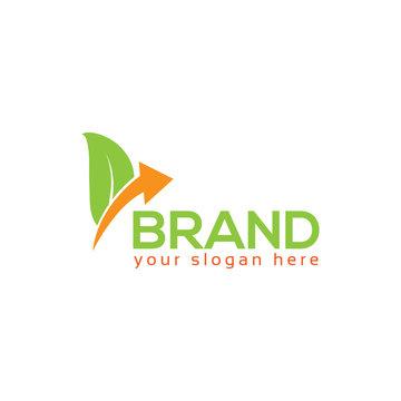 Leaf and arrow logo vector. Flat design