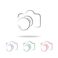 Photo camera silhouette logo icon. Elements of photo camera in multi colored icons. Premium quality graphic design icon. Simple icon for websites, web design, mobile app