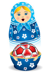 Blue matryoshka opening with a red soccer ball inside it on white background. Matryoshka doll also known as a Russian nesting doll is a set of wooden dolls of decreasing size placed