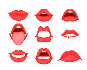 Different shapes of female red lips. Vector illustration in cartoon style.