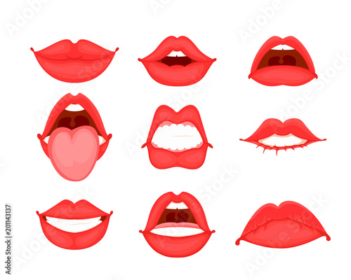 different shapes of female red lips vector illustration in cartoon