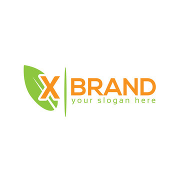Letter X with leaf on white background. Logo Design Template. Flat design