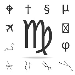 Virgo zodiac sign icon. Detailed set of web icons. Premium quality graphic design. One of the collection icons for websites, web design, mobile app