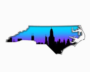 North Carolina NC Skyline City Metropolitan Area Nightlife 3d Illustration