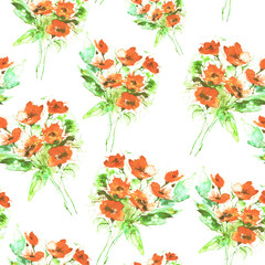 Watercolor, vintage seamless background with floral pattern. Abstract red flowers, rose poppy, wildflowers,  bud, leaf and seeds in a nice and trendy pattern. For textiles, wallpapers, materials