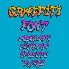 Graffity alphabet vector hand drawn grunge font paint symbol design ink style texture typeset