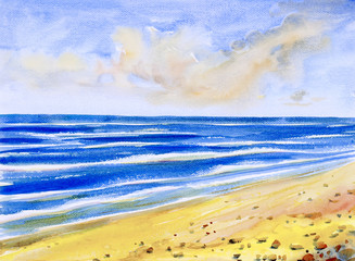 Watercolor seascape painting colorful of sea view, beach.
