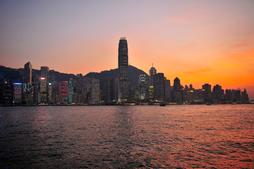 Hong Kong Cityscape at Twilight Scene