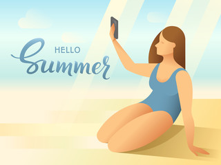 Body positive female young woman in bathing suit taking a self picture with smartphone on tropical beach background. Hello Summer handmade lettering Vector illustration