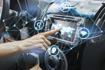 vehicle and graphical user interface(GUI). intelligent car,car system control pushing panel button screen modern design   Internet of Things(IOT),Transportation,technology and vehicle concept