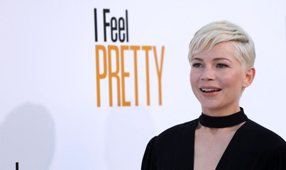 """Cast member Williams poses at the premiere of """"I Feel Pretty"""" in Los Angeles"""