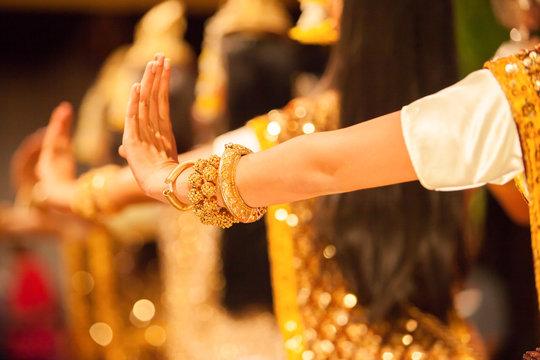 Graceful hands of Apsara Khmer dance depicting the Ramayana epic.