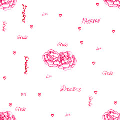 pink delicate watercolor outline flowers rose petals with words love dreams girl background seamless pattern isolated on white background