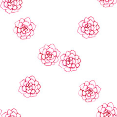 pink delicate watercolor outline flowers rose petals seamless pattern isolated on white background