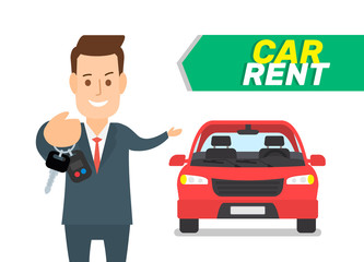 rent a car seller holding keys