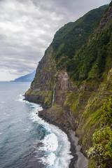 Bridal Veil Falls (Veu da noiva) and the old cliff road North Coast of Madeira island, Portugal