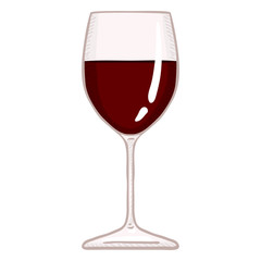 Vector Cartoon Glass of Red Wine