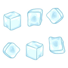 Vector Cartoon Set of Ice Cubes