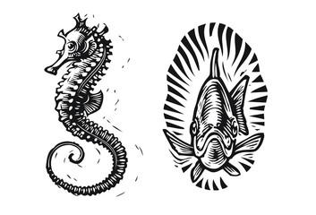 Seahorse and fish