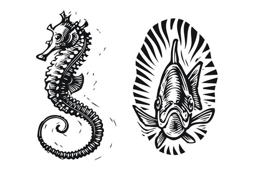 Seahorse Tattoo Photos Royalty Free Images Graphics Vectors Videos Adobe Stock