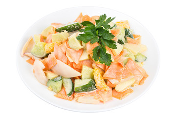 Tasty salad with squid, vegetables and orange, dressed with sauce on a white plate. Salad in a plate isolated on white background. Seafood salad.