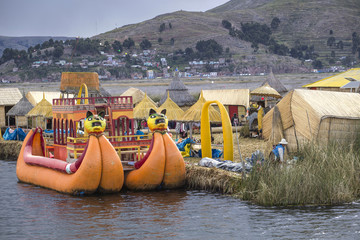 Uros floating island, lake Titicaca, Peru