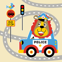 lion the traffic cop in the road, vector cartoon illustration