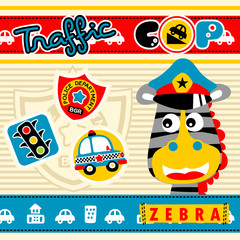 Zebra the animal cop with traffic equipments, vector cartoon illustration
