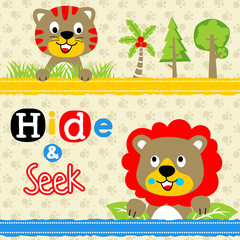 Playing hide and seek with funny animals, tiger and lion, vector cartoon illustration