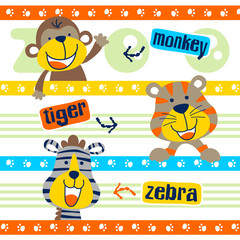 set of happy animals cartoon on striped background, vector cartoon illustration