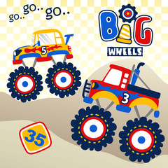 big truck race, vector cartoon illustration