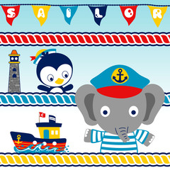 animals sailor team with a boat, lighthouse, colorful rope, flags, vector cartoon illustration