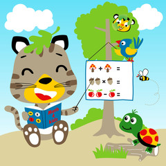 learn to count with funny animals cartoon, vector cartoon illustration
