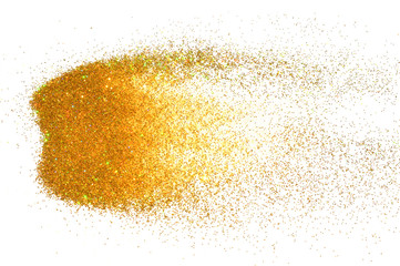 Background with holographic golden glitter sparkle on white