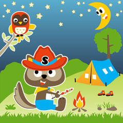camping with squirrel and owl, vector cartoon illustration
