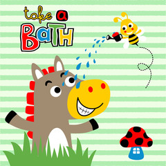 Horse bath time with bee on striped background, vector cartoon illustration