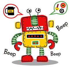 funny colorful robot, vector cartoon illustration