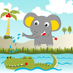 Funny animals cartoon, elephant with crocodile in the river, vector cartoon illustration