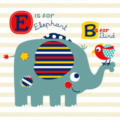 NIce elephant and bird cartoon, learn to read animals name, vector cartoon illustration