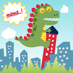 funny monster attack city, vector cartoon illustration