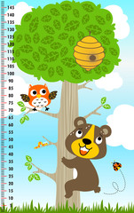 meter wall with big tree and funny animals, vector cartoon illustration
