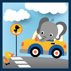 Driving in the road city with happy elephant and friend, vector cartoon illustration