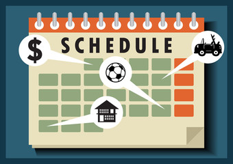 Calendar schedule vector cartoon illustration