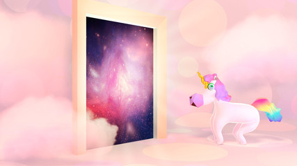 Cartoon unicorn and mysterious door leading to the universe. 3d rendering picture.
