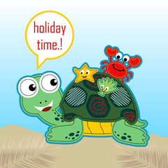 Marine animals. Turtle, starfish, shellfish, crab, in the beach. Vector cartoon illustration