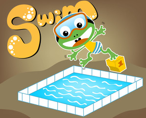 Swimming time with funny frog cartoon, vector cartoon illustration