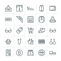 Modern Simple Set of clothes, shopping Vector outline Icons. ..Contains such Icons as fashion,  fashion,  female,  casual,  purse,  tag, bra and more on white background. Fully Editable. Pixel Perfect