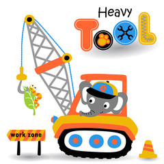 elephant drive a heavy tool, vector cartoon illustration