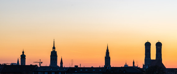 Munich Silhouette during sunset in Summer